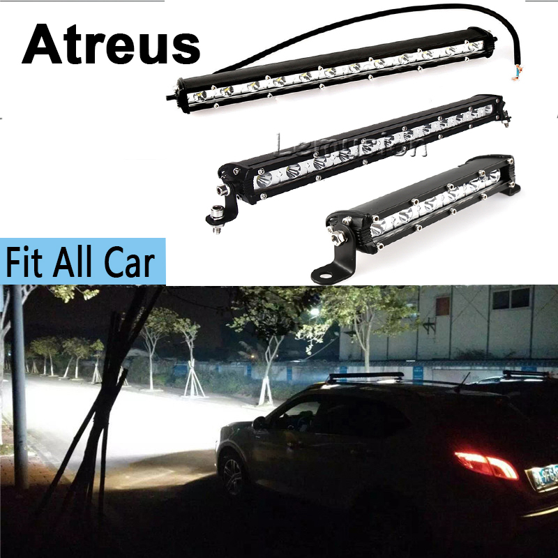 Atreus 1X Car Single Row LED Light Bar 12V Driving Fog Lamp DRL For VW BMW E46 E36 Audi Mercedes Opel Astra H J G Toyota Corolla for opel astra h gtc 2005 15 h11 wiring harness sockets wire connector switch 2 fog lights drl front bumper 5d lens led lamp
