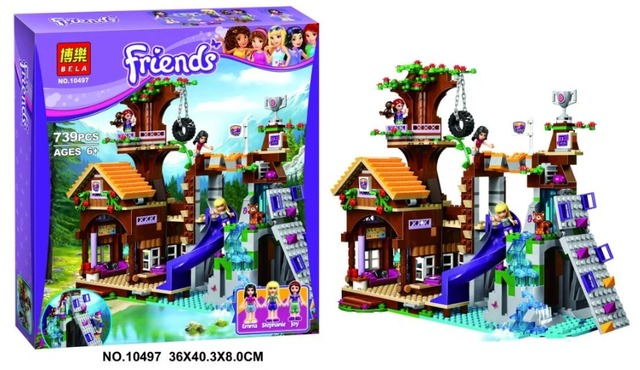 [Bainily]739Pcs Friends Adventure Camp Tree House tire swing Model Building Blocks Girl Toys Compatible With LegoINGly Friends