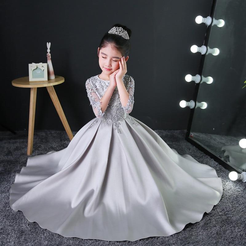 2019 春エレガントな子供の女の子長袖誕生日イブニングパーティープリンセスレースドレスティーン子供ファッションドレスホストピアノドレス  グループ上の ママ & キッズ からの ドレス の中 3