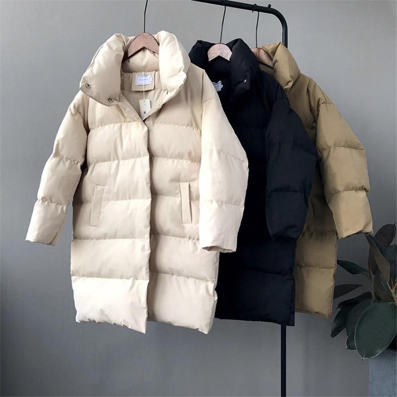Winter Women Thicken Cotton Padded Coat 2018 Solid Female Jackets Windproof Women   Parkas   Turtleneck Warm Long Cotton Coat Z3316