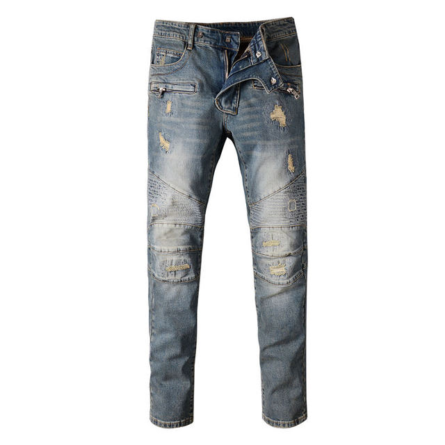 15a67574 New Famous Brand Men's Blue Patchwork Runway Biker Jeans Male Personality  Denim Overalls Mens Slim Cat Whisker Locomotive Jeans
