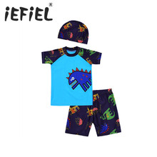 78f487ef490 iEFiEL 3PCS Kids Boys Tankini Dinosaur Pattern Swimsuit Set Tops with  Bottoms Swimming Cap Set Bathing Suit Outfits 2-14Years