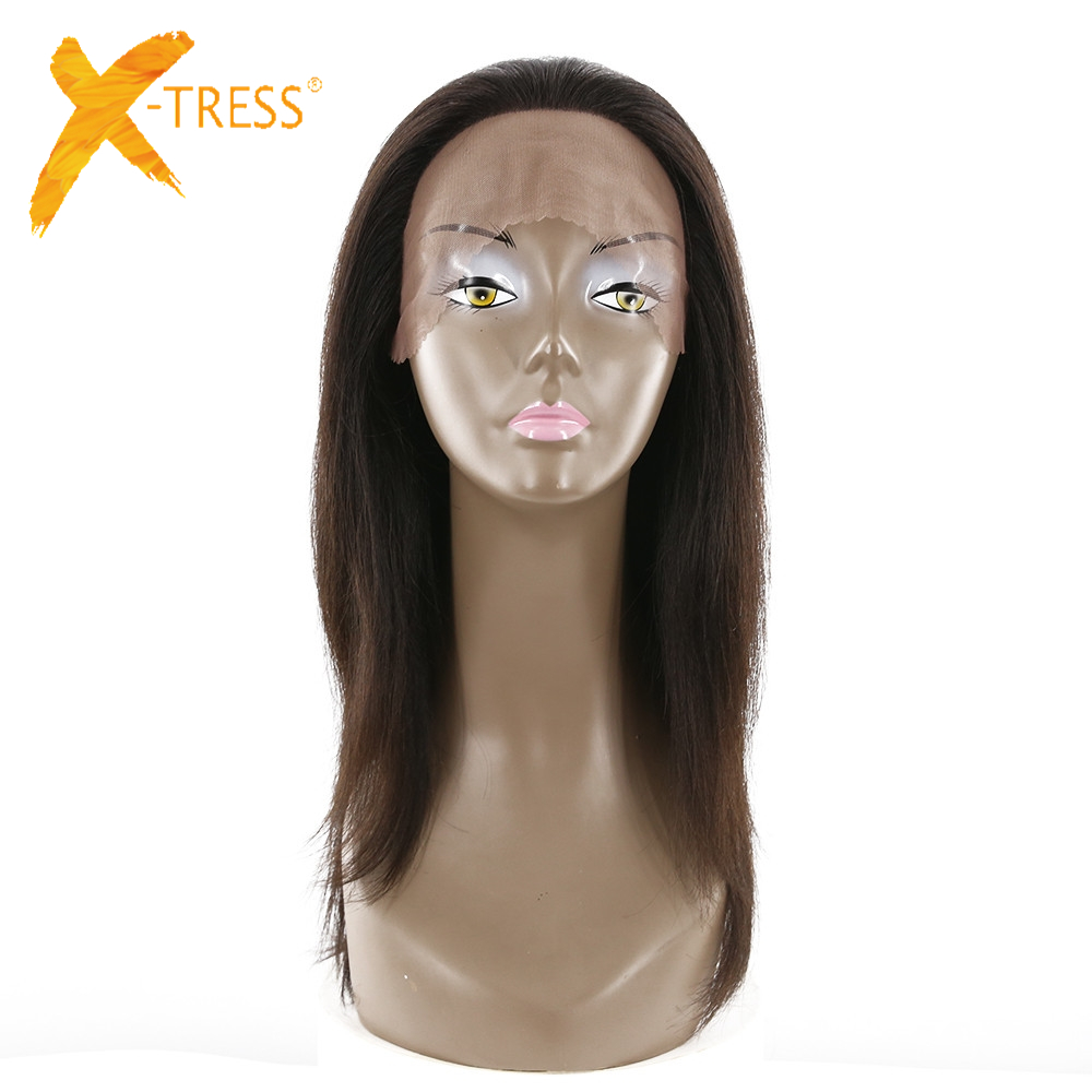 X-TRESS Brazilian Remy Human Hair Lace Front Wigs 18 Straight Free Parting Natural Color Hair Wigs For Women Medium Brown Lace