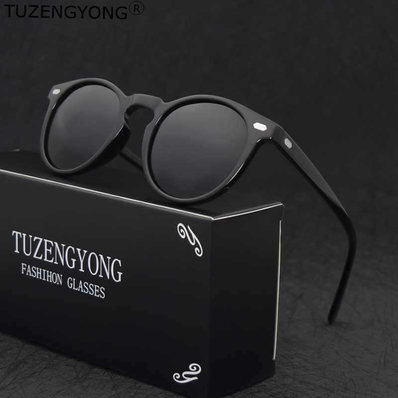 TUZENGYONG Brand Vintage Designer Polarized Sunglasses For Men Traveling Unisex TR90 Round Sun Glasses Driving Eyewear Oculos