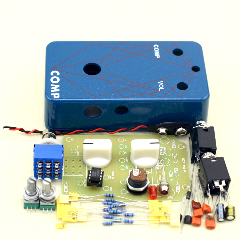 Hand Wired Compressor Guitar Effect pedal All Kits True Bypass With 1590b enclosure Free Shipping mooer ensemble queen bass chorus effect pedal mini guitar effects true bypass with free connector and footswitch topper