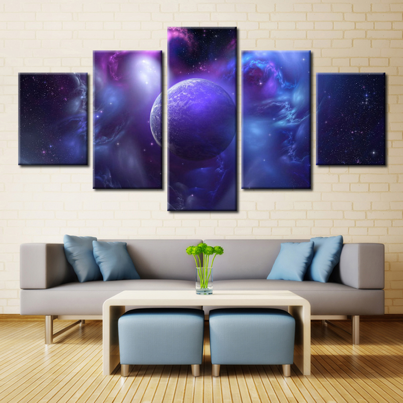 5PCS/set Unframed Earth Abstract Oil Painting on Canvas Fashion Wall Art for Home Decorations Customized and Wholesale Blue