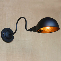 Home decoration rustic style wrought black iron lampara de pared industrial bar vintage wall lamp