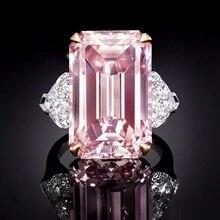 BLH розовый квадратный Циркон 925 пробы Серебряное кольцо на палец Розовый кристаллический камень кольцо любовь навсегда для женщин Свадебные обручальные ювелирные изделия