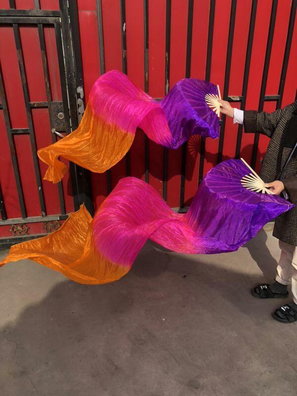 Hot Sell Cheap Imitation Silk Fan Veil Pairs Women Belly Dance Bamboo Fan Veils Flame Color 120cm 180cm