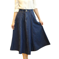 Dark Blue New Women lady Maxi Casual A-line Long Denim Jean Waist Skirts Size M-XL