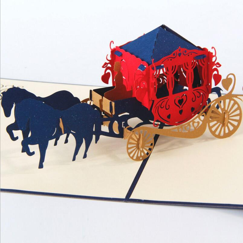 3pcs/lot 3D Pop Up Cards Wedding Horse Carriage Creative Gifts Postcard Birthday Valentine's Day Greeting Cards with Envelope creative gifts 3d pop up card greeting