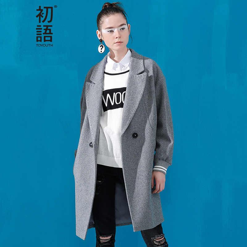 Toyouth estilo britânico casaco de lã inverno feminino casaco de lã bolsos único breasted botão gola quadrada casaco feminino