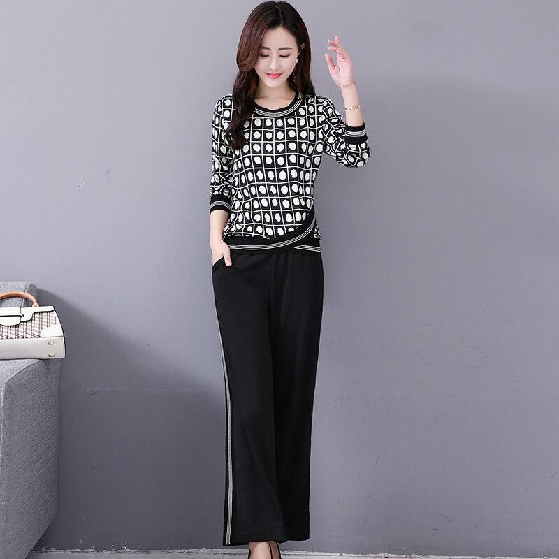 M-5x Autumn Black Printed Two Piece Sets Women Plus Size Long Sleeve Tops And Pants Suits Korean Elegant Office 2 Piece Sets 31