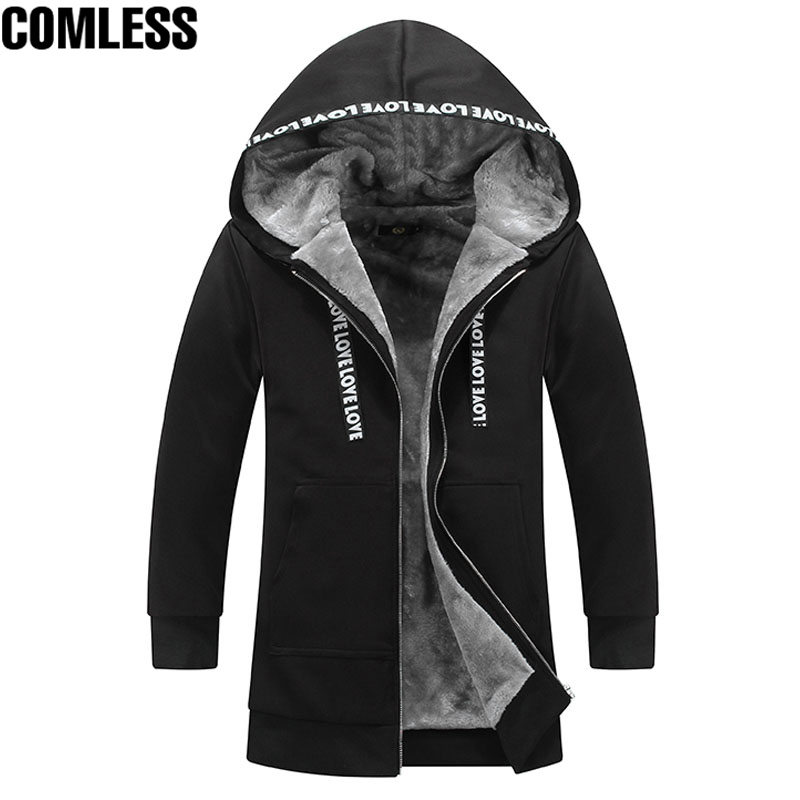 2017 New Winter Hoodies Men Thicken Plus Velvet Long Section Outwear Fashion Design Mens Warm Sweatshirts Clothing Big Size 5XL