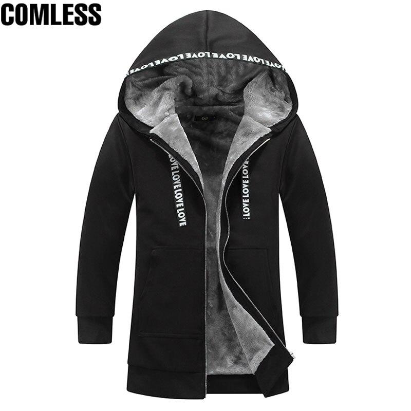 2017 nouveau hiver sweat à capuche pour homme épaissir Plus velours longue Section Outwear mode Design hommes chaud Sweatshirts vêtements grande taille 5XL