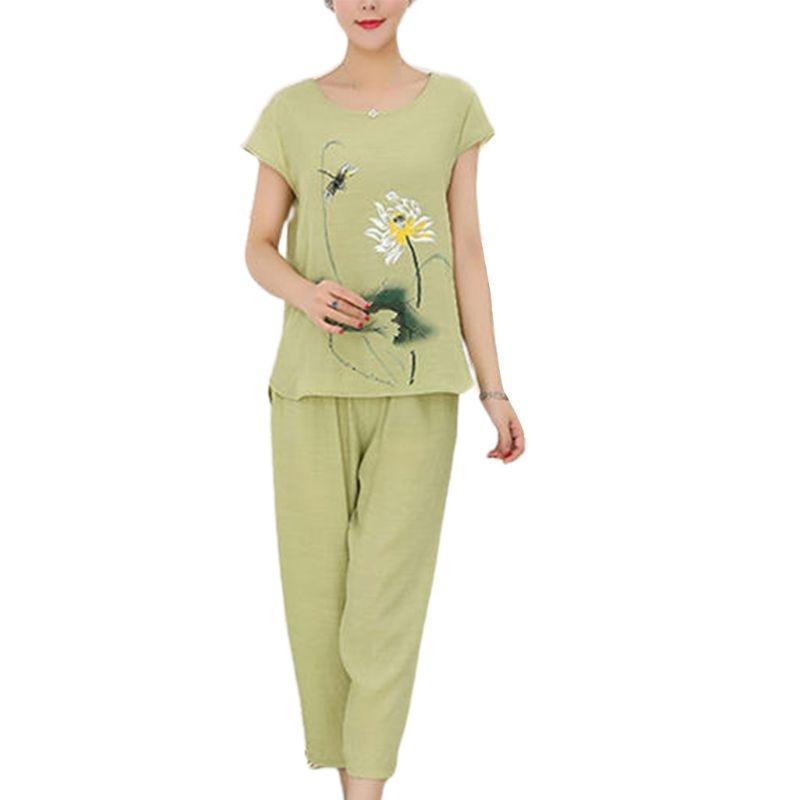 Womens Summer Plus Size   Pajamas     Set   Chinese Lotus Floral Print Short Sleeve Tops Capri Pants Loose Sleepwear Loungewear