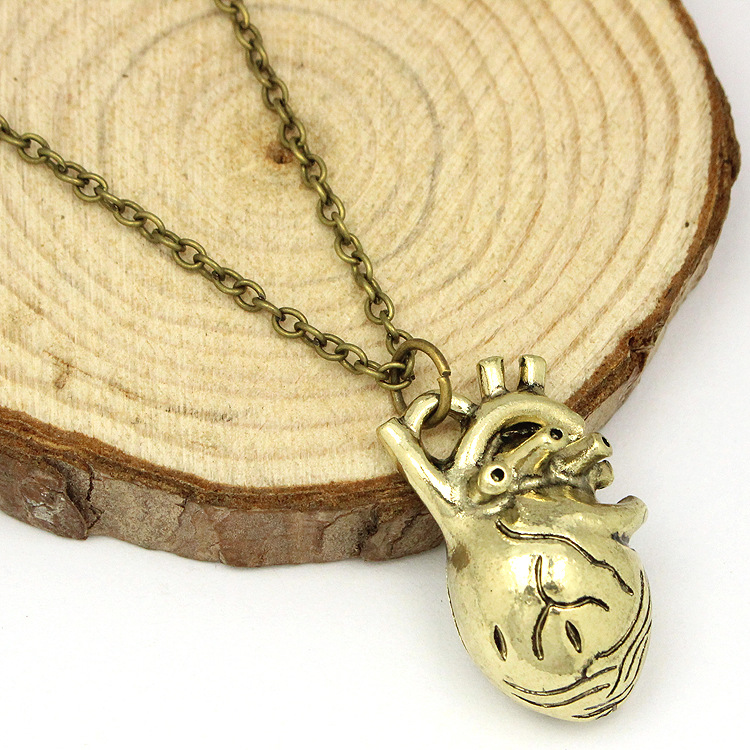 anatomical heart necklace vintage anatomy heart antique silver and ...