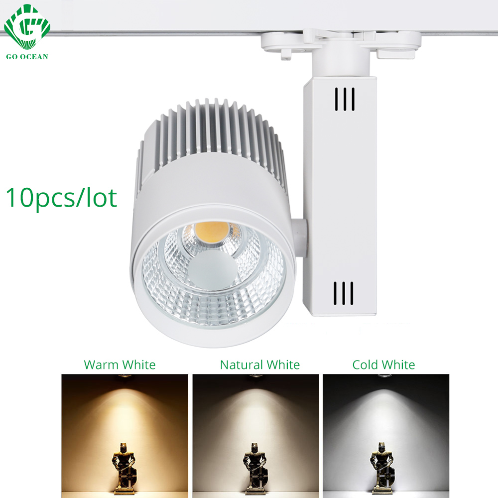 Éclairage sur rail Rail Lampe Spot 30W COB Vêtements Chaussures Magasin Magasin Piste Lumières LED Rail Spotlight 2/3/4 fil 3 phase 10pcs / lot