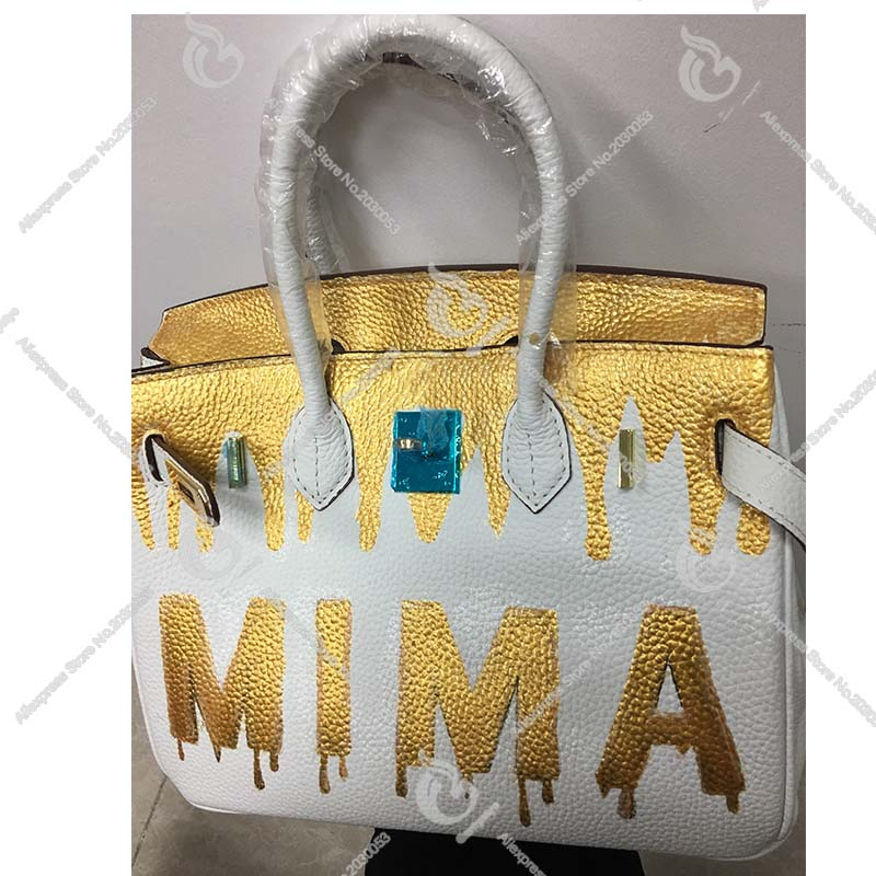 Hand Drawing Custom Gold Letters Name Genuine Leather Handbags Luxury Designer Graffiti Bags Real Cowskin Women Totes