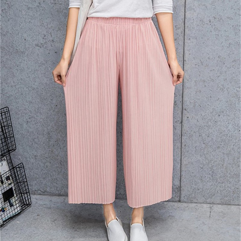 Women's Casual Loose   Wide     Leg     Pants   Pleated Ankle-Length Ladies   Pants   Summer Solid Color High Waist Capris