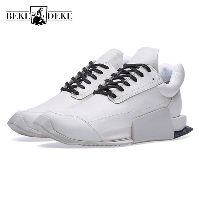 European Style Low Top White Natural Leather Sneakers for Men Fashion Luxury Lace Up Casual Outddor Walking Leather Shoes Men цена