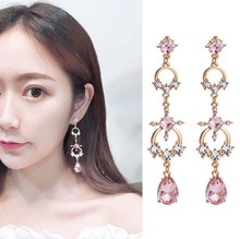 Korean New Pink Crystal Water Drop Dangle Earrings Women Fashion Shining Rhinestone Geometric Round and Square Long Pendientes