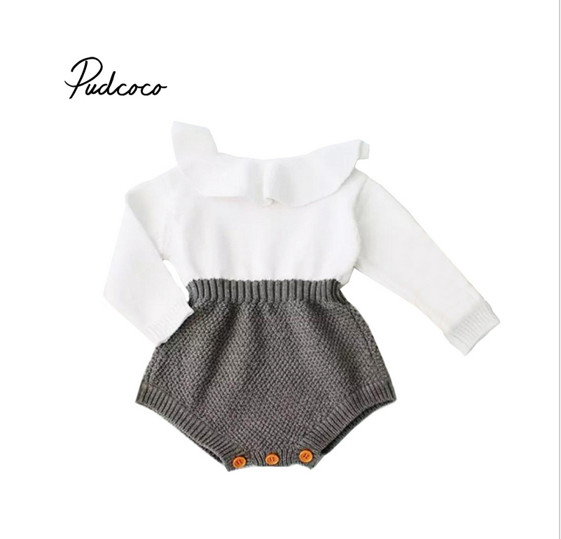 Pudcoco infant Newborn Baby Girl Wool Blend Baby   Romper   Warm Knit Sweater autumn winter Long Sleeve   Rompers   baby girl clothing