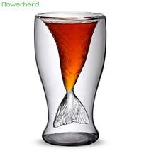 Syrenka kreatywny kubek szkło odporne na wysoką temperaturę materiał kubki kawy i herbaty podwójna warstwa 100 ręcznie wykwintne szklanka kubek tanie tanio Lfgb Zaopatrzony Ekologiczne Plac Koktajl szkła flowerherd Mermaid Creative Cup