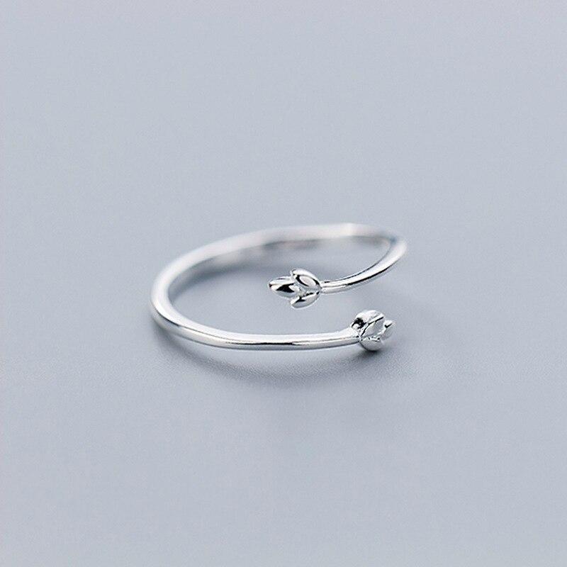 100% стерлингового серебра 925 Нежный Три ветка с листьями спираль Открытые Кольца для женщин Laydy Girl Регулируемый ювелирный подарок - 4