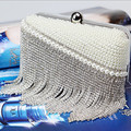 Fashion silver color Tassel Beading Party/wedding Diamonds purse day clutches Chain shoulder Bags women Cluthes 130