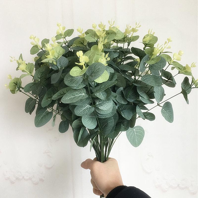 Маленькая ветка дерева эвкалипта, шелк искусственные растения для дома, садовое украшение, сделай сам, Цветочная композиция, искусственная ...