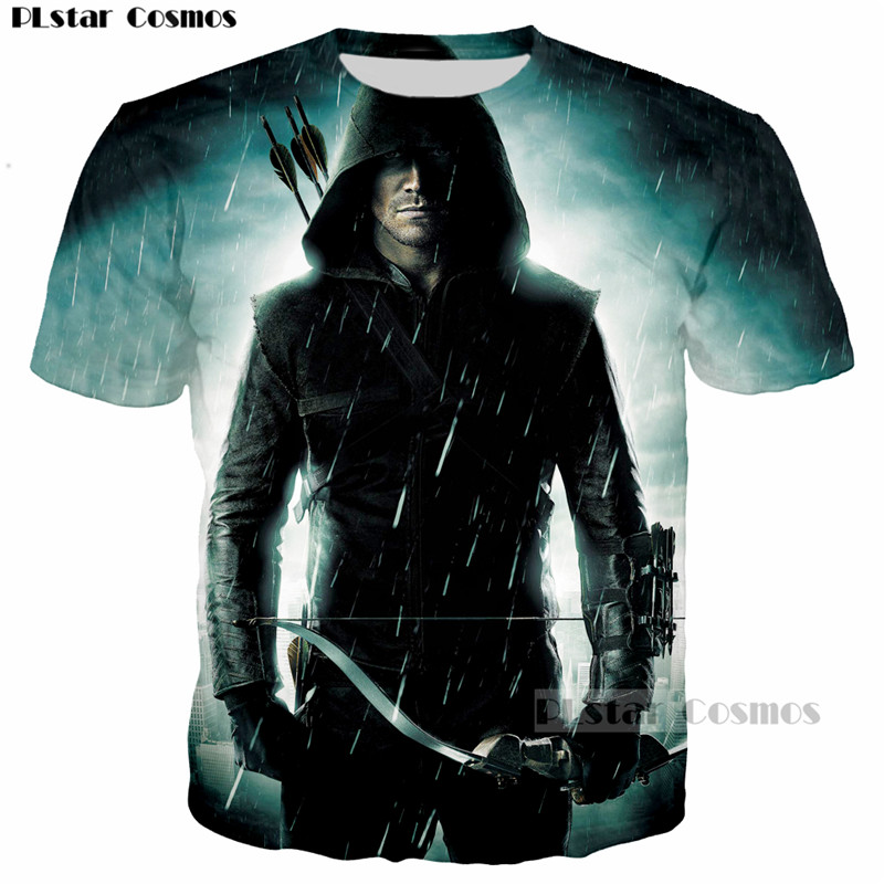 PLstar Cosmos Green Arrow Oliver Queen Print 3D Men T-shirt casual men tshirt Tops Tees Print Women Cool Hip hop t shirt tops