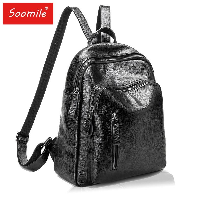 2018 New Genuine Leather Women's Backpacks Large Capacity Shoulder Travel Bags Female Backpacks For Teenage Girls Designer