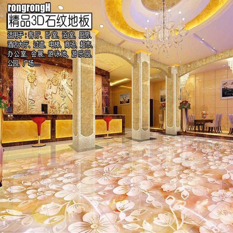 Custom Photo Floor Wallpaper 3D Stereoscopic 3D Floor Flower orchid 3D Mural PVC Wallpaper Self-adhesion Floor Wallpaer