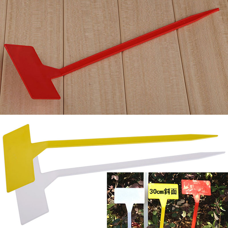 Brand New 50 Pcs Garden Ornament Plastic Plant T type Upturned Tags Inclined Plane Markers Nursery Garden Labels Tools Part