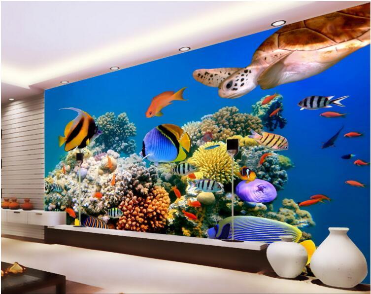 3d Room Wallpaper Custom Mural Non-woven Wall Sticker Deep Sea Tropical Aquarium Fish Sea Turtles Photo 3d Wall Murals Wallpaper