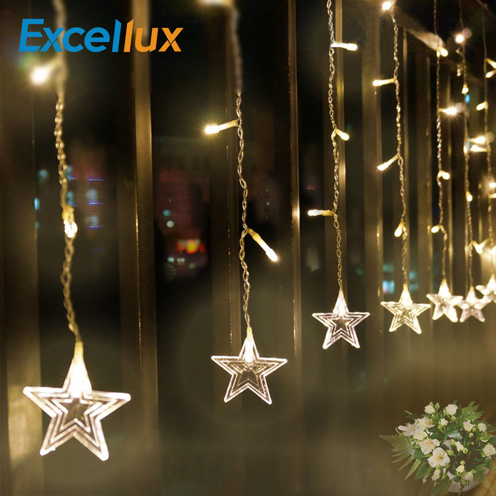3.5m 96leds Holiday Fairy led Curtain string Light Romantic Star String Lights as DIY Party Wedding Garland Decoration Lighting