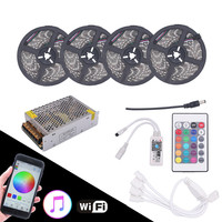 BEILAI 5050 RGB LED Strip Waterproof 5M 10M 15M 20M DC 12V LED Light Strips 60led/m With 24Key Wifi Controller Support music