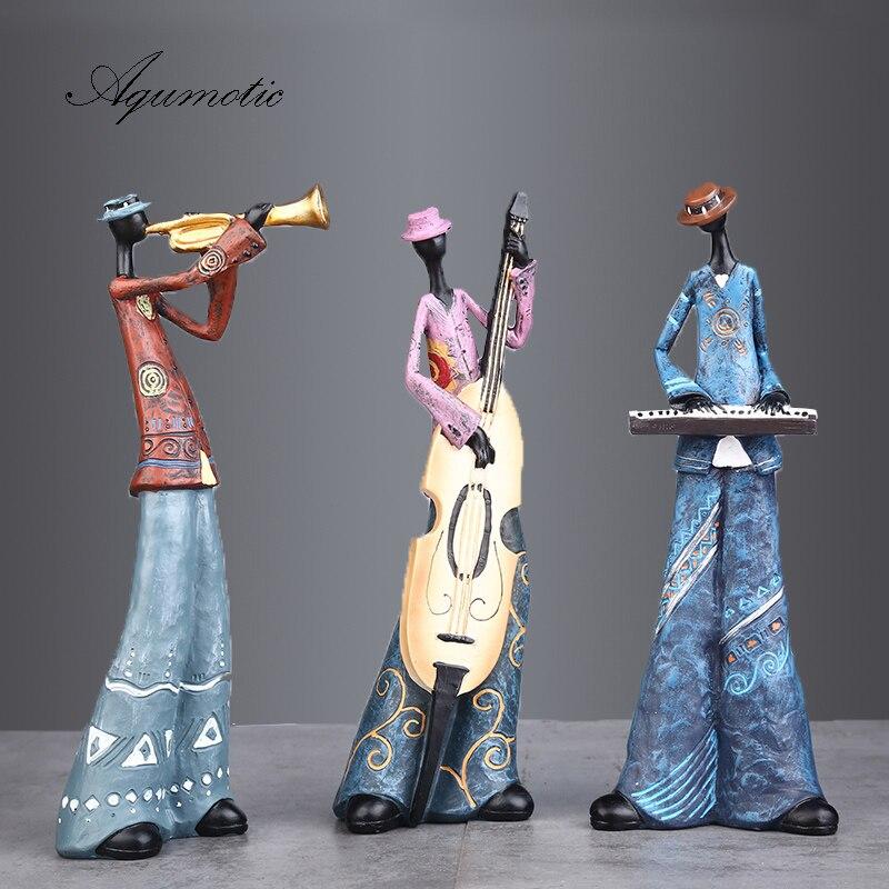 Aqumotic Rock Band Ornaments Art Instruments Character Model 1pc Large Resin Singer Piano Guitar Saxophone Speaker Vintage