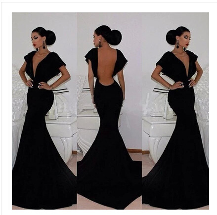 57732657f black mermaid Bridesmaid Dresses sexy backless vestidos de gala vestidos  largos de fiesta mujer vestidos de fiesta 2018