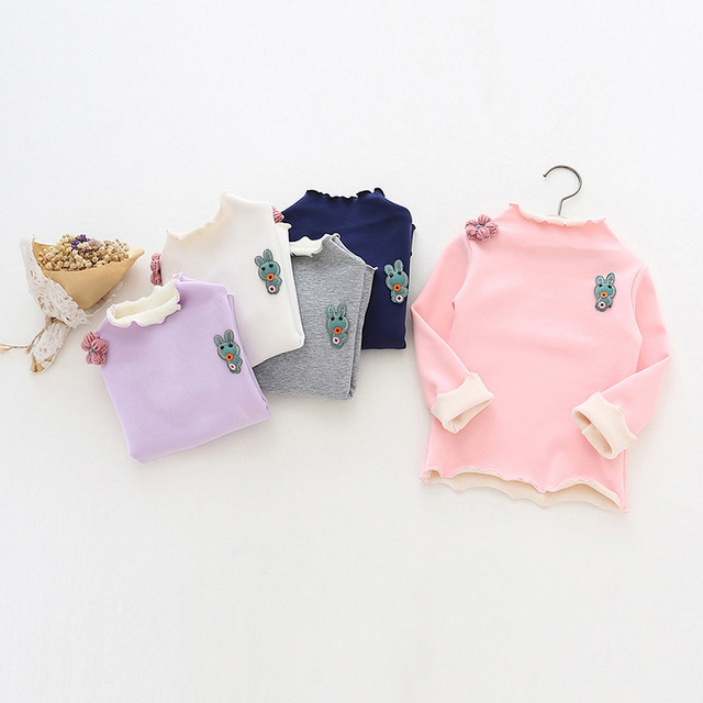 Winter Baby girl tshirt Half-high collar tees Children T-shirt for girl cartoon flowers Cotton Rabbit Plus Velvet basic t shirt