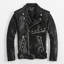 Men's Leather Jacket Rivet Oblique Zipper Slim Lapel Jacket Punk Coat
