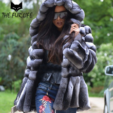High Quality Nature Rabbit Fur Coat With Oversized Hoods Real Fur Jacket Chinchilla Rex Rabbit Skirt For Female Especially 2018