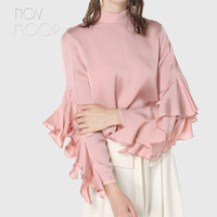 Elegant black pink ladies natural silk tops and blouses butterfly sleeve silk shirt tops camisa blusa feminina summer top LT1979