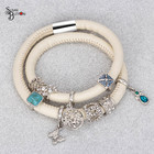Pejia Jewelry Endless Charms Bracelet Match Endless Charms With Floating Charms DIY Woman Elegant Leather Wrap Bracelet