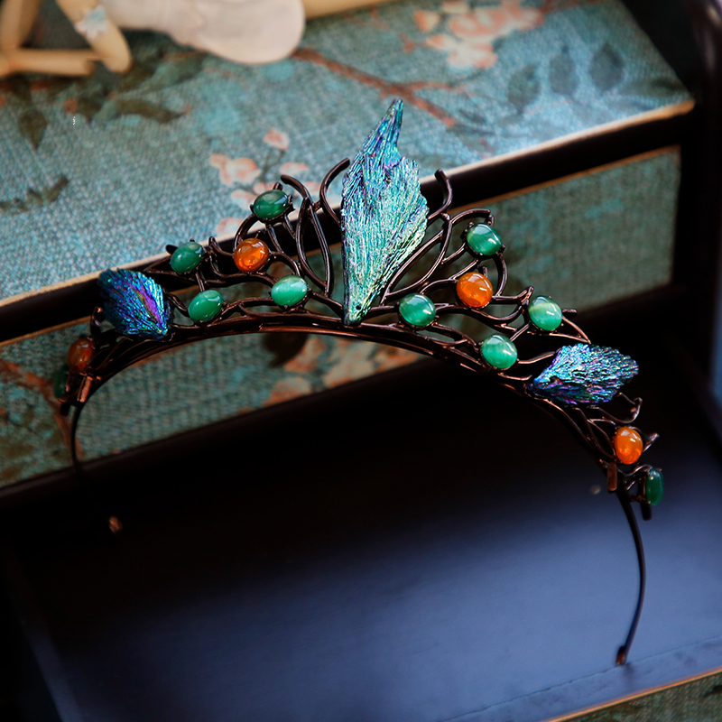 Image 2 - HIMSTORYm Unique Blue Green Cosplay Party Forest Elf Branch Hair Crown Women Peacock Evening Pageant Jewelry Hair Accessories-in Hair Jewelry from Jewelry & Accessories