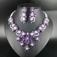 2019 Новая мода Роскошный популярный элегантный фиолетовый цветок циркон ожерелье серьги набор, свадебные вечерние ювелирные изделия набор