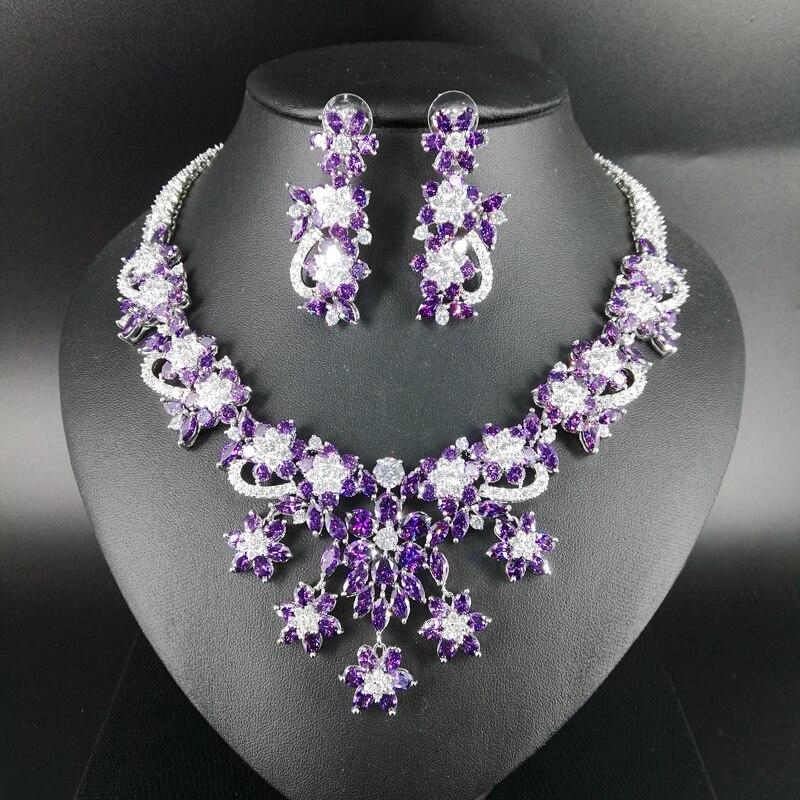 2019 новые модные роскошные популярные элегантные фиолетовые цветы циркон цепочки и ожерелья серьги комплект, Свадебные невесты звавечерние