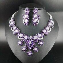 2019 new fashion luxury popular elegant purple flowers zircon necklace earring set,wedding bride dinner party formal jewelry set