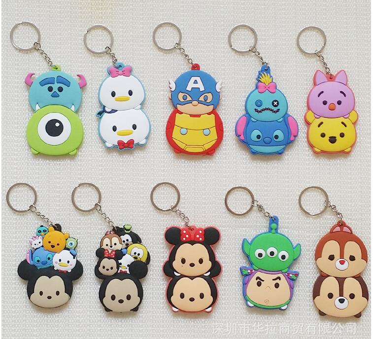 Stitch MICKEY MINNIE Fashion Anime Key Chain PVC Figure Keyring Cartoon Keychain Keyholder Birthday Gifts Unisex NEW image